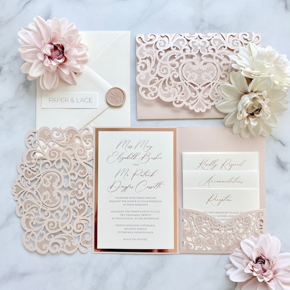 MARY - Blush Pink Shimmer Laser Cut Trifold Pocket Wedding Invitation Suite with Rose Gold Foil and Black Digital Printing on Matte Ivory