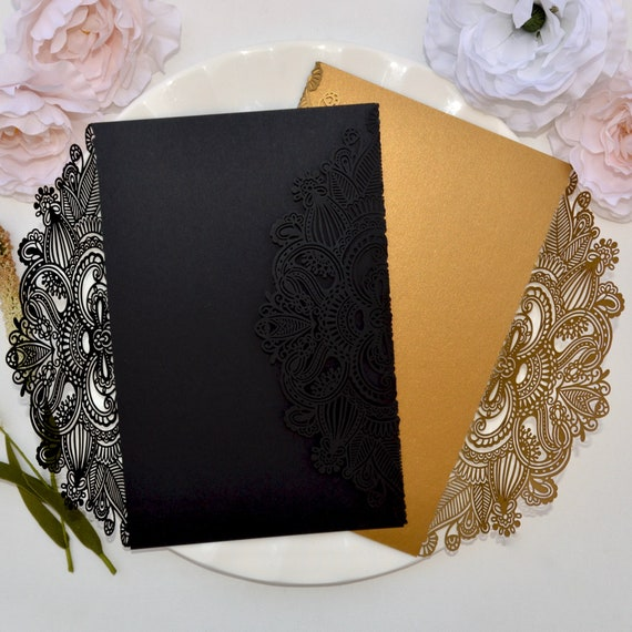 DIY Masquerade Laser Cut Gatefold - Do It Yourself Laser Cut Invitation Wrap - Laser Cut Wedding Invitation -Oversized Laser Cut Gatefold