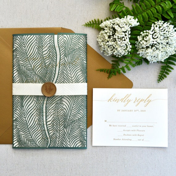 WISPY PALMS - Gold Foil Stamped Laser Cut Wedding Invitation - Fern Green Palms Laser Cut Wrap - Gold Foil Printing - Gold Wax Seal