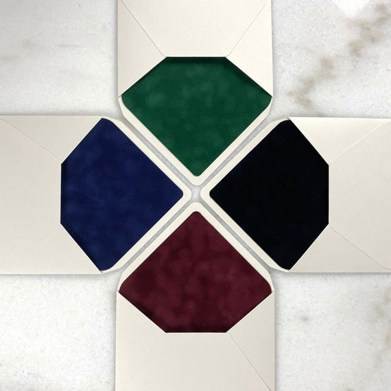 Velvet Lined Envelopes in Emerald-Navy-Wine-Black - A7 Euro Flap Envelope w/ Velvet Liner - Wedding Invitation Envelopes