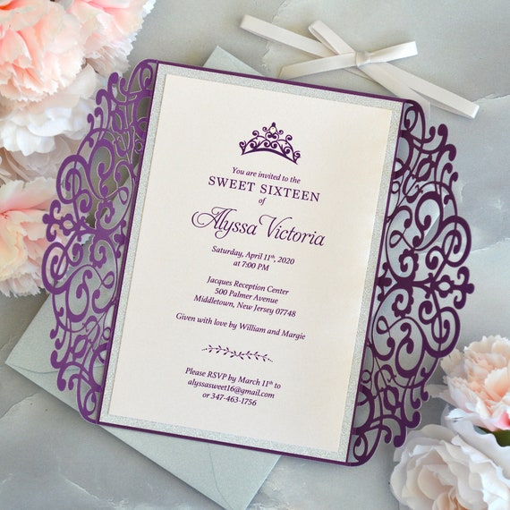 PRINCESS Laser Cut Sweet 16 Invitation - Purple Laser Cut Gatefold Invitation w/ Silver Glitter Border & Blush Pink Card Stock - Quinceañera