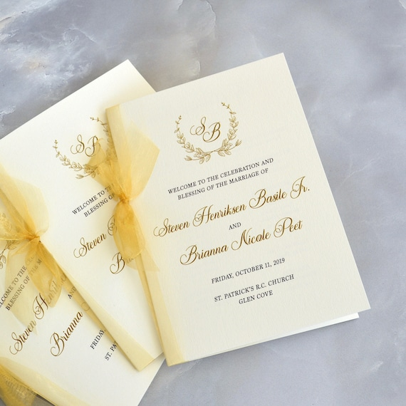 Wedding Program with Sheer Gold Ribbon - Ivory Folding Program with Gold Bow - Church Program - Custom Wording & Colors