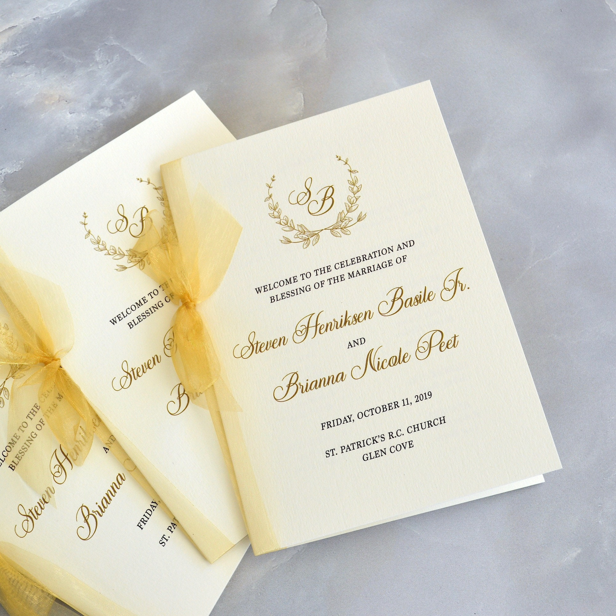 Wedding Program With Sheer Gold Ribbon