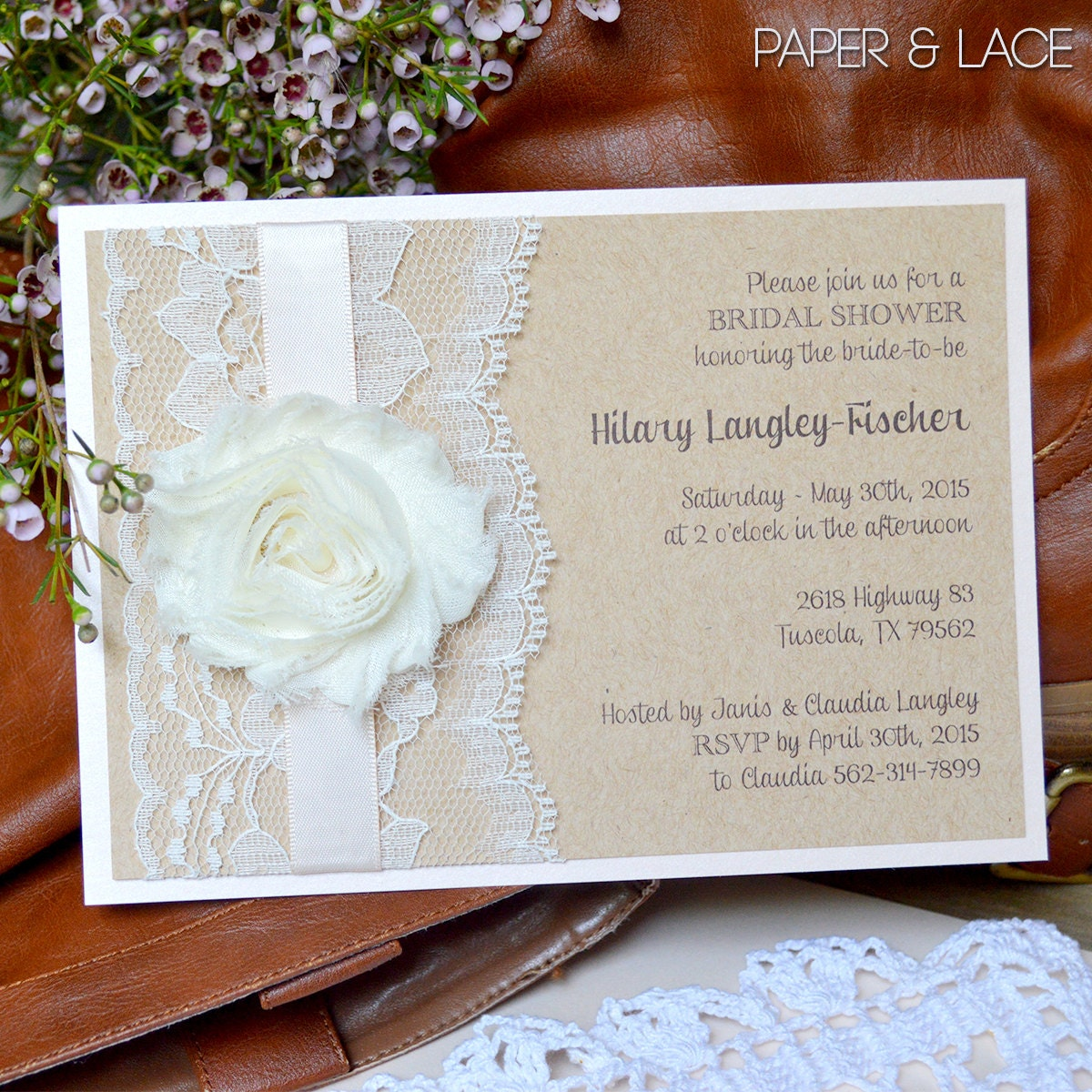 hilary rustic bridal shower invitation country lace bridal shower invite blush bridal shower invitation chiffon flower invitation