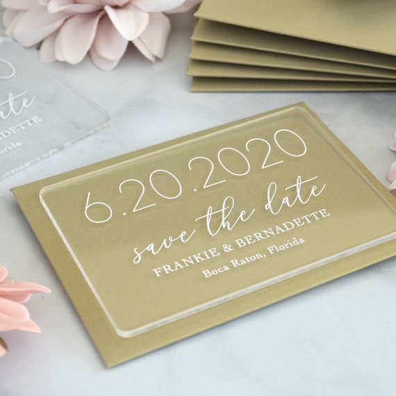 Acrylic Save the Date - Clear Acrylic with White Ink and Gold Card Stock Envelopes - Custom Fonts and Envelope Colors Available