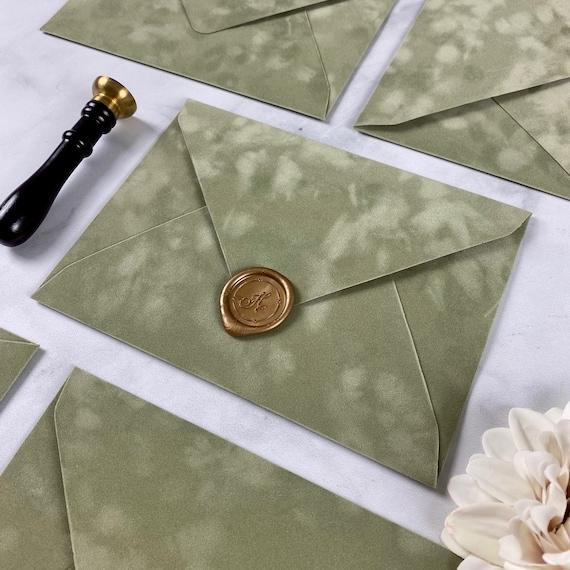 SAGE - Velvet Envelope - Suede Envelope - A7 Euro Flap Envelope - Wedding Invitation Envelope - Soft Dusty Green