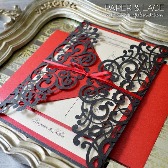 JAIME - Black and Red Laser Cut Wedding Invitation - Black Laser Cut Gatefold invite with Red Shimmer Accents and Ribbon
