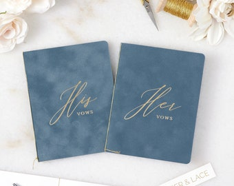 French Blue Velvet Vow Books w/ Gold or Silver Foil for Wedding Ceremony - His/Her Vows -Dusty Blue Suede Keepsake Book -Styled Shoot Sample
