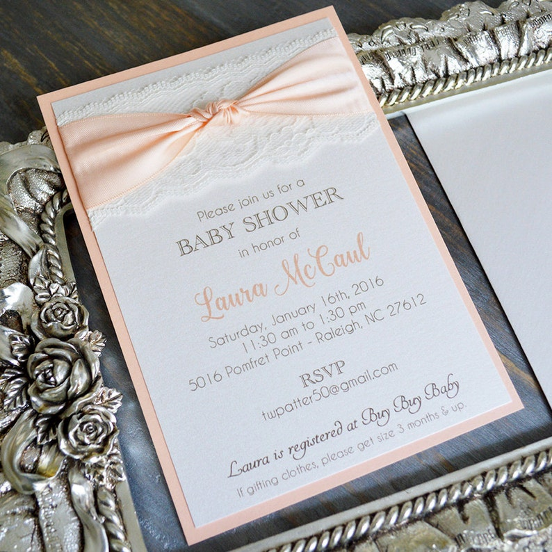 c4837315278 Peach and Ivory Lace Baby Shower Invitation Peach Ribbon