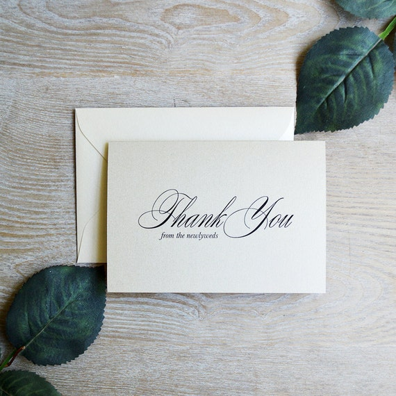 Personalized Thank You Cards - Champagne & Ivory - Custom Thank You Notes - Blank Inside - Wedding - Bridal Shower - Many Colors Available