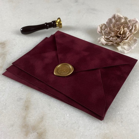 WINE - Velvet Envelope - Suede Envelope - A7 Euro Flap Envelope - Wedding Invitation Envelope - Burgundy - Maroon