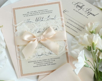 JILLIAN - Ivory Lace Wrapped Wedding Invitation with Rose Gold Glitter and Peach Blush Satin Ribbon - Custom Colors Available