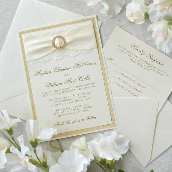 MEGHAN - Ivory Lace Wedding Invitation with Gold Glitter, Ivory Satin Ribbon, and Gold Rhinestone Buckle