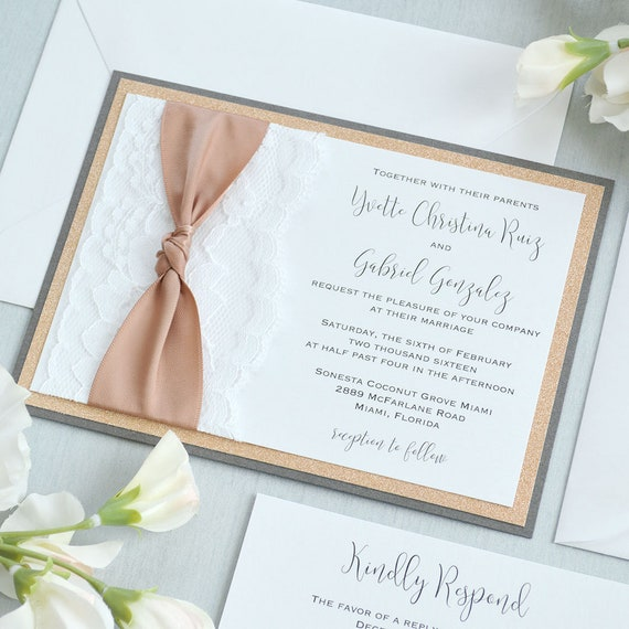 YVETTE - White Lace Wedding Invitation with Rose Gold Glitter and Natural Satin Ribbon Knot - Custom Colors Available