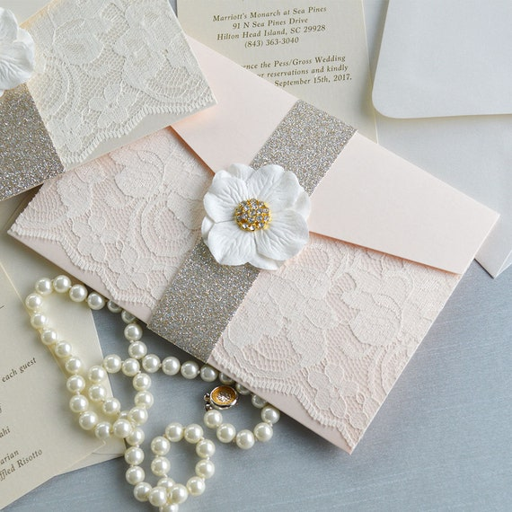 RACHEL - Peach Blush and Ivory Lace Wedding Invitation with Side Pocket and Gold Glitter Belly Band with Paper Flower and Rhinestone Button