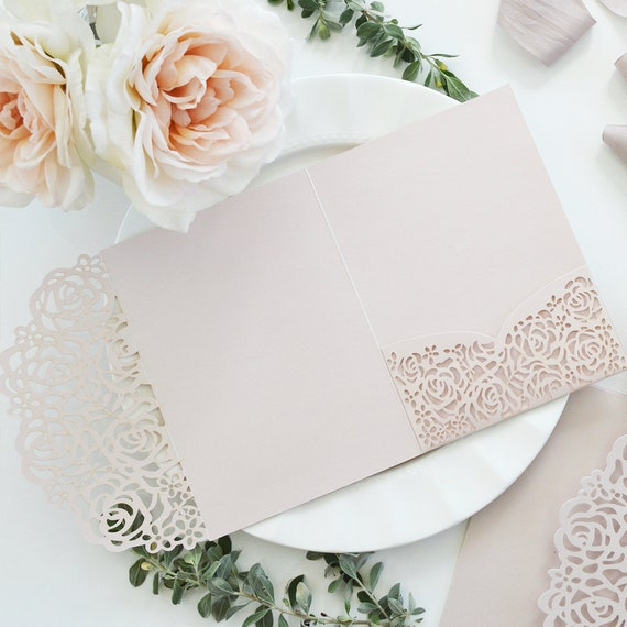 DIY Roses Laser Cut Trifold Pocket Invitation - Laser Cut Wedding Invitation - Laser Cut Roses - Do It Yourself Pocket Invitation