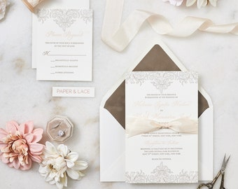 MELANIE - Letterpress Wedding Invitation - Double Thick 100% Cotton Pearl White Card Stock with Silk Ribbon and Velvet Envelope Liner