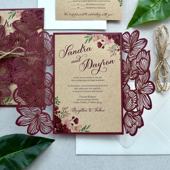 SANDRA - Burgundy and Burlap Laser Cut Wedding Invitation- Burgundy Floral Laser Cut Gatefold with Burlap Card Stock and Twine Bow