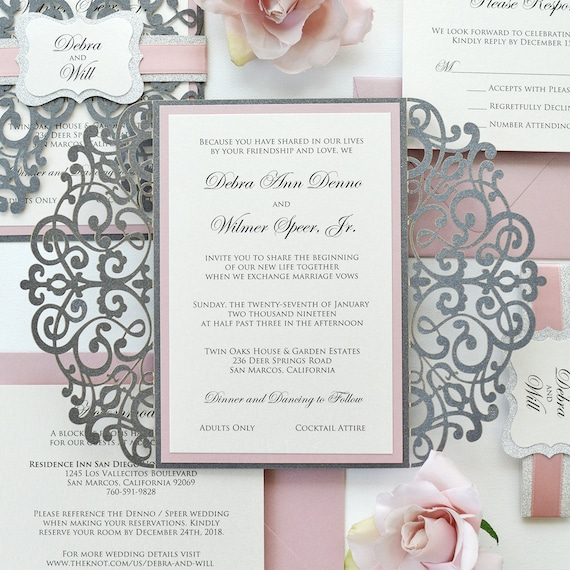 DEBRA - Steel Gray Laser Cut Wedding Invitation with Blush Pink Accents and Silver Glitter - Elegant Laser Cut Invite - Custom Colors