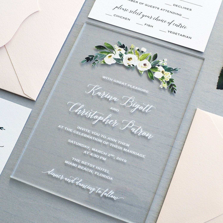 Acrylic Wedding Invitations Floral Acrylic Invitation Clear Invit Custom Invitations