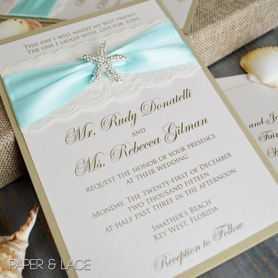 STARFISH - Beach Wedding Invitation - Ivory or White Lace Wedding Invitation with Rhinestone Starfish Brooch in Silver or Gold
