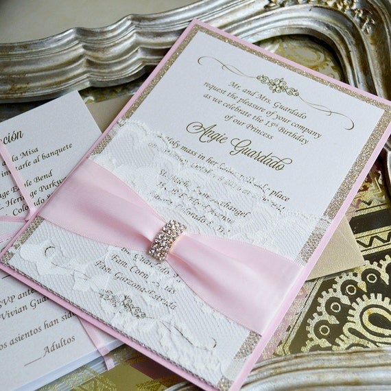 ANGIE - Lace Pocket Quince Invitation- Pink and Gold Glitter with Ivory Lace Pocket, Pale Pink Ribbon and Gold Rhinestone Brooch