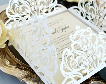 DORKAS Ivory Laser Cut Wrap Invitation - Square Laser Cut Wedding Invitation with Glitter Border and Belly Band - 4 Flap Fold Invitation