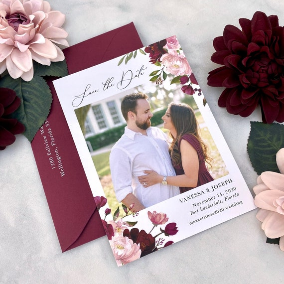 Photo Save the Date Card - Save the Date with Printed Photo and Matching Envelope in any Color