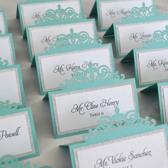 Aqua Laser Cut Place Card with Silver Glitter or Silver Foil Accent - Escort Card - Custom Placecard for wedding, bridal shower, quince