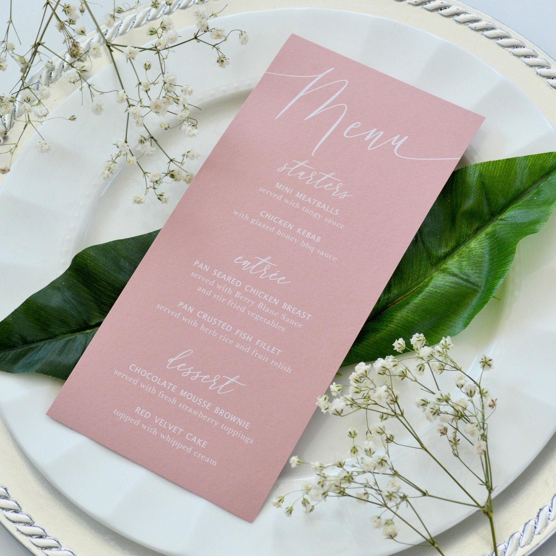 blush wedding menu  white ink on dusty rose card stock