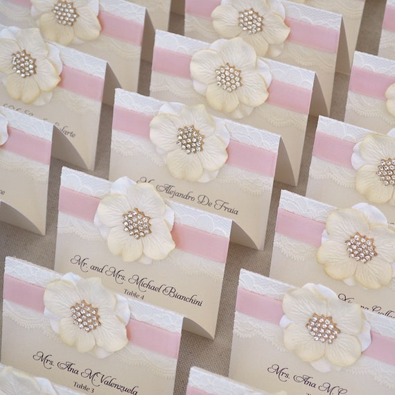 Paper Flower Place Cards - Lace Escort Cards - Vintage Table Cards - Couture Name Cards - Ivory or White Lace with Crystal Snowflake Button