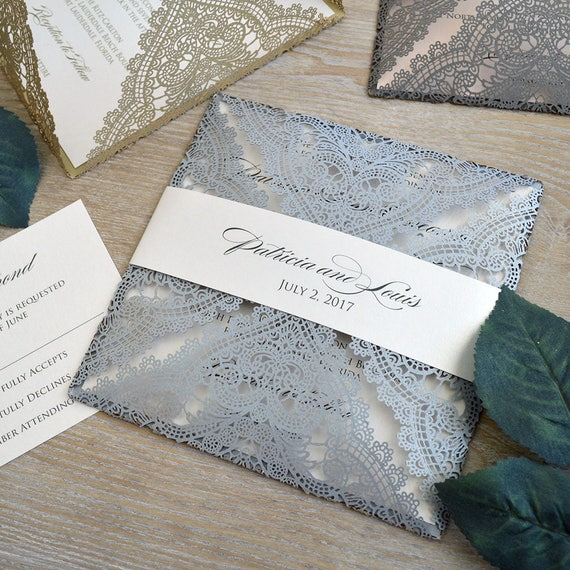 SILVER CHANTILLY LACE Laser Cut Wrap Invitation - Silver Square Laser Cut Wedding Invitation with Ivory Shimmer Insert and Belly Band