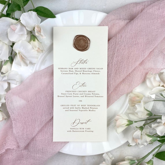 Ivory Wedding Menu with Wax Seal - Natural Card Stock with Rose Gold Wax Seal- Custom Menu - Dinner Menu Card