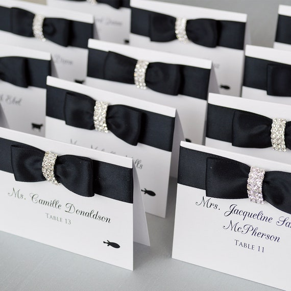 Rhinestone and Satin Bow Place Cards - Elegant Escort Cards - Table Cards - Couture Name Cards - Ivory or White Lace with Crystal Buckle