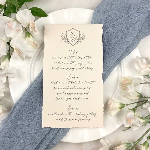 Blush Wedding Menu with Deckled Edges - Soft Pink Card Stock with Hand Torn Edges- Custom Menu - Dinner Menu Card