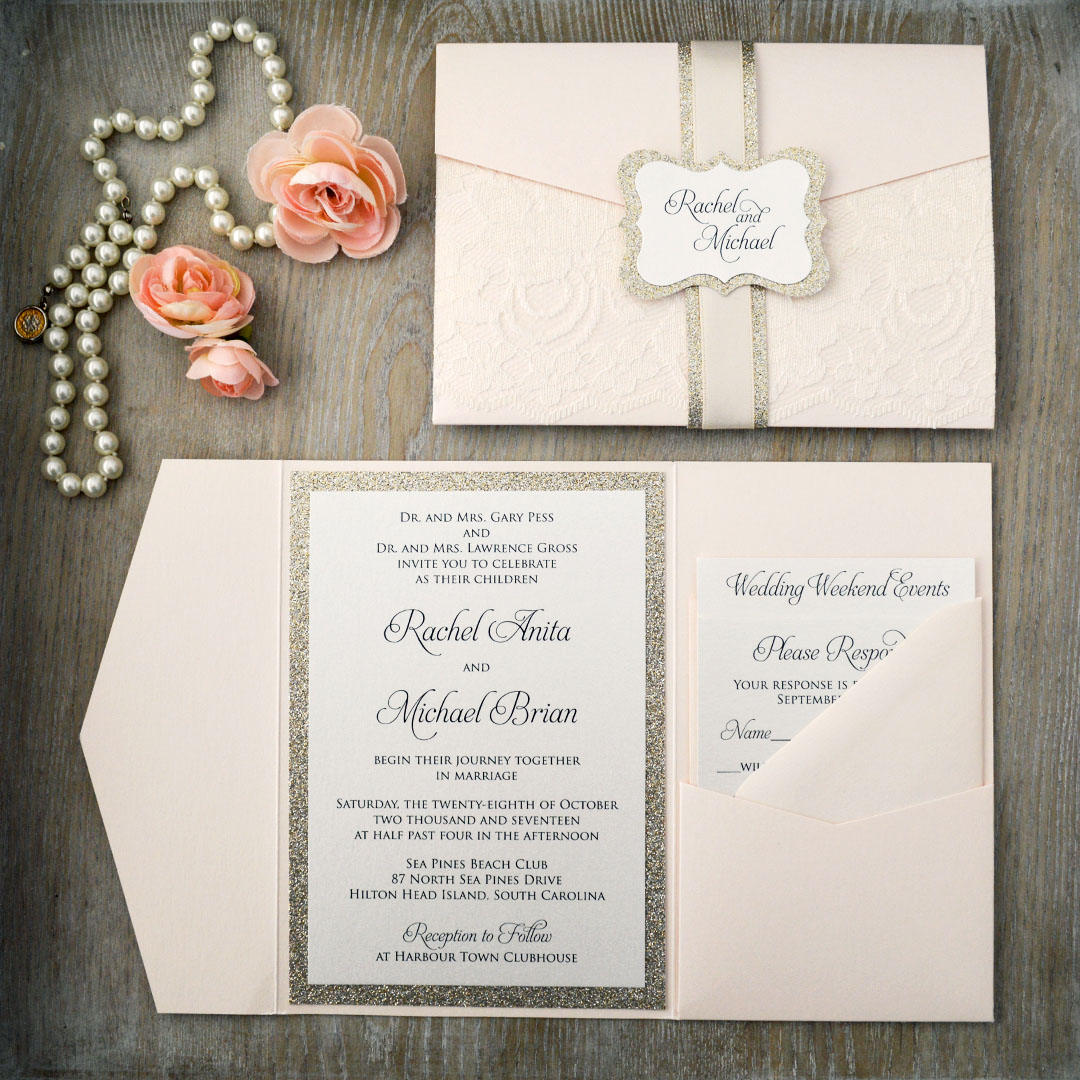 RACHEL- Blush Wedding Invitation with Ivory Lace and Gold Glitter ...