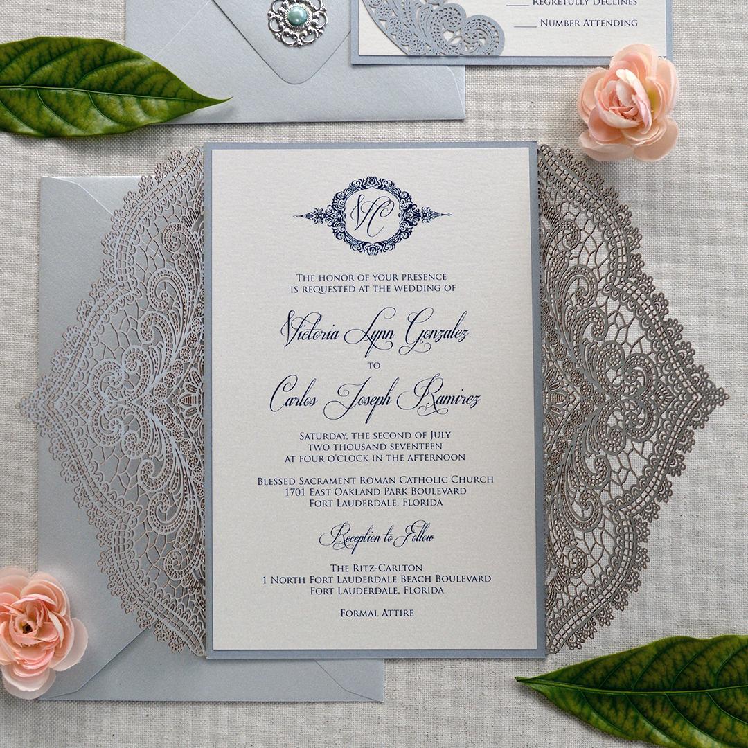 silver chantilly lace laser cut wrap invitation silver laser cut