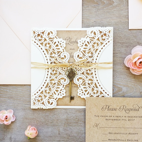 APRIL - Square Laser Cut Wedding Invitation - Ivory Shimmer Laser Cut Gatefold with Kraft Card Stock, Blush Envelopes, Raffia, & Vintage Key