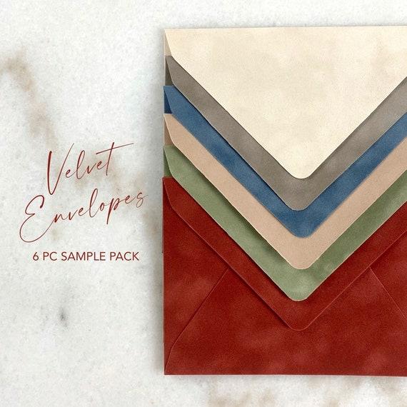 SAMPLE PACK - Velvet Envelopes - Suede Envelope - A7 Euro Flap Envelopes - Wedding Invitation Envelopes - Photoshoot Envelope Samples