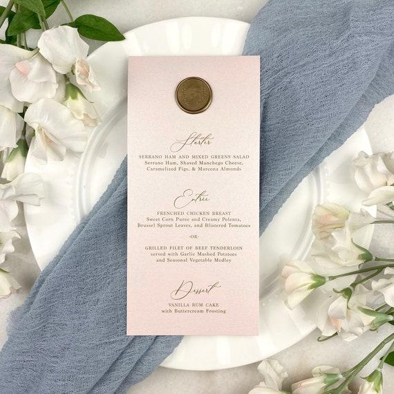 Blush Wedding Menu with Wax Seal - Blush Pink Shimmer Card Stock with Gold Wax Seal- Custom Menu - Dinner Menu Card