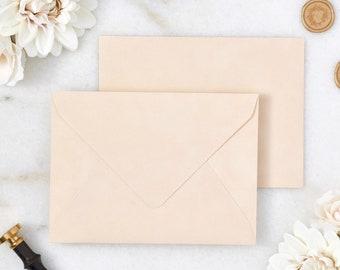 Ivory / Champagne Velvet Envelopes - A7 or A9 Euro Flap Envelopes - Suede Envelopes - Wedding Invitation Envelopes - Inner Envelope