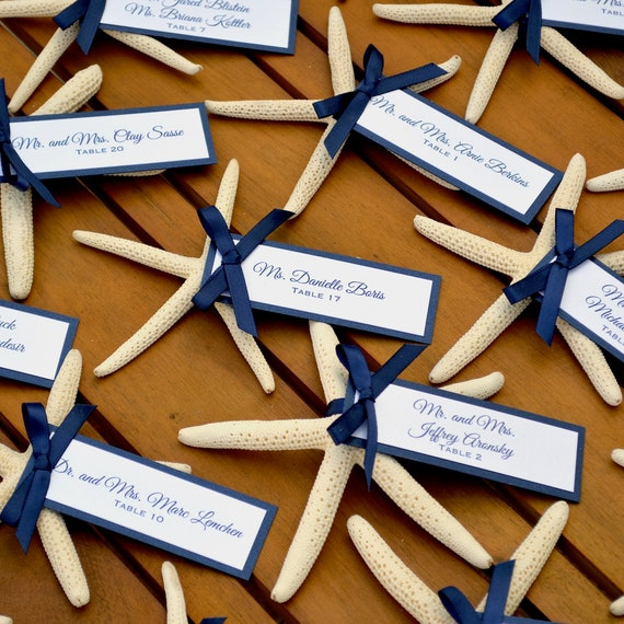 Starfish Place Cards - White & Navy Escort Cards - Table Cards - Beach Wedding Placecards - Custom colors available for Tag and Ribbon