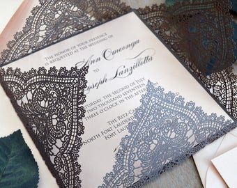 GRAY CHANTILLY LACE Laser Cut Wrap Invitation - Antique Silver Square Laser Cut Wedding Invitation with Blush Insert and Belly Band