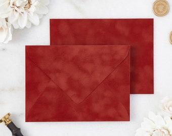 Rust Velvet Envelopes - A7 or A9 Euro Flap Envelopes - Suede Envelopes - Wedding Invitation Envelopes - Inner Envelope