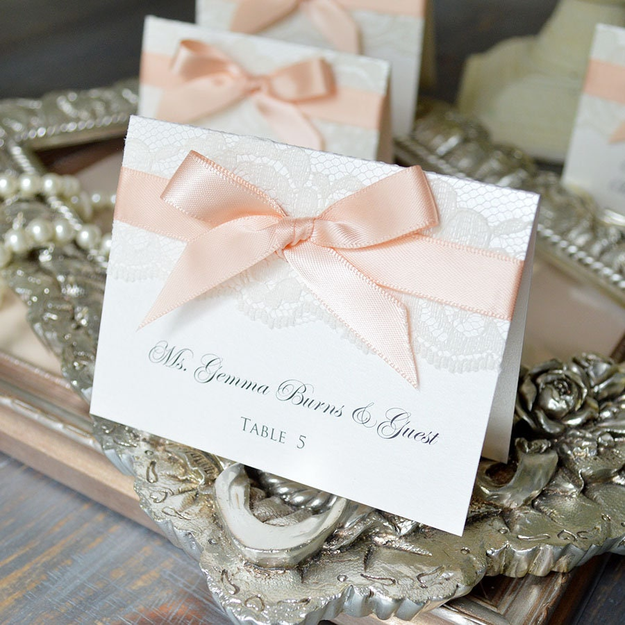 bow lace place cards ribbon and lace escort card custom place card for wedding sweet 16 quinceaera bridal showers custom colors - Custom Place Cards