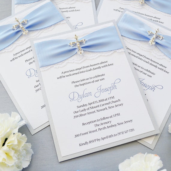DYLAN - Lace Baptism Invitation - White Lace with Rhinestone Cross - Light Dusty Blue Ribbon- Silver Shimmer - Lace Christening Invite