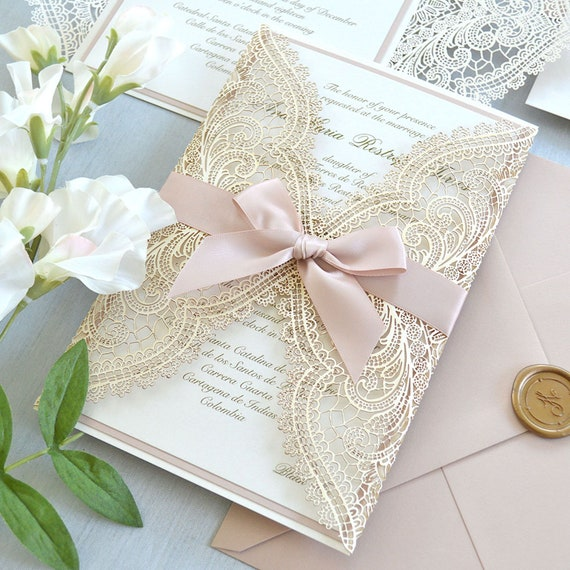 IVORY & BLUSH CHANTILLY Lace Laser Cut Wrap Invitation - Ivory Laser Cut Wedding Invitation with Blush Shimmer Border and Blush Satin Ribbon