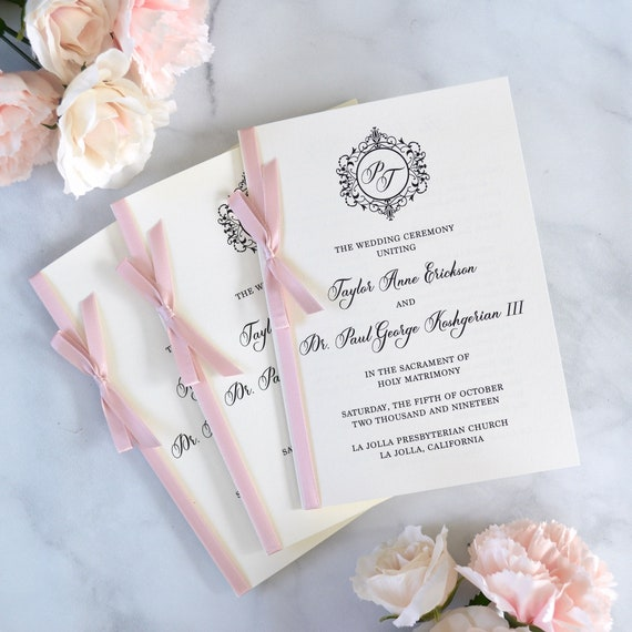 Wedding Program with Pink Blush Satin Ribbon Bow - Ivory Wedding Program - Church Program - Folding Program - Custom Wording & Colors