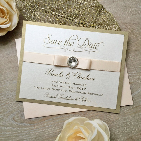 RHINESTONE Save The Date - Gold and Blush Save the Date Card with Blush Pink Ribbon and Crystal Button - Custom colors available