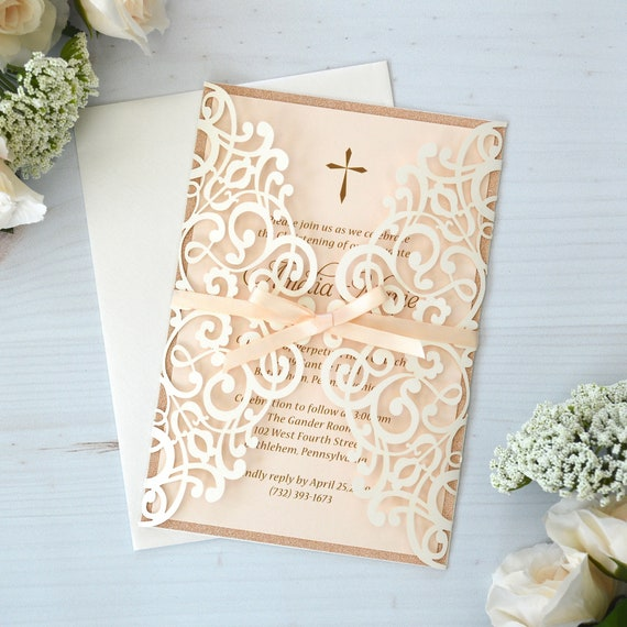 AMELIA - Laser Cut Baptism Invitation - Ivory Laser Cut Wrap with Rose Glitter Border and Peach Blush Ribbon- Laser Cut Christening Invite